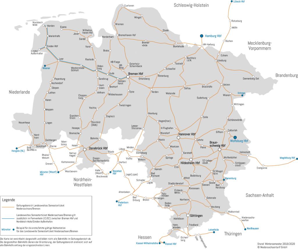 Visualisierung des Streckennetzes des Semesterticket Niedersachsen/Bremen - Stand Wintersemester 2019/2020